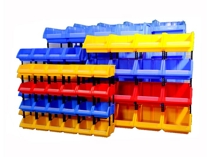 Stackable blue plastic storage parts bins