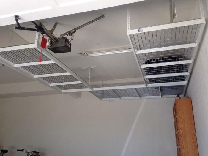 Light duty overhead garage storage racks systems units