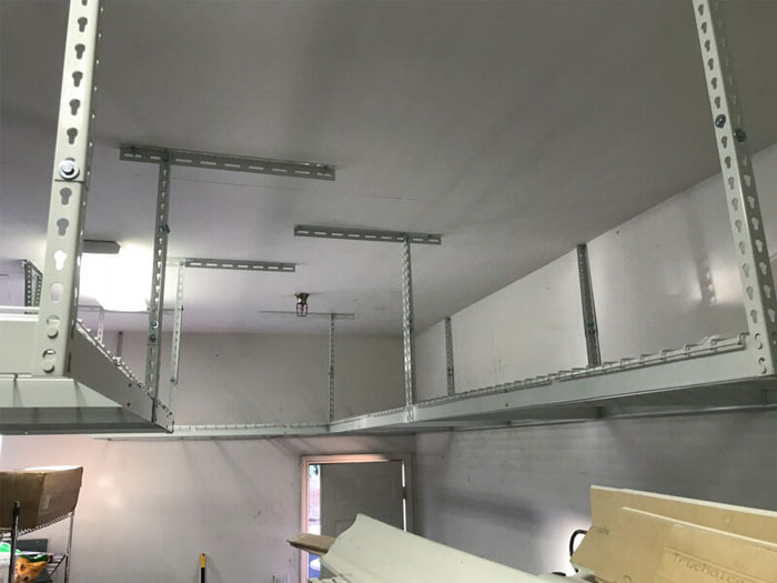 Light duty overhead garage storage racks systems units