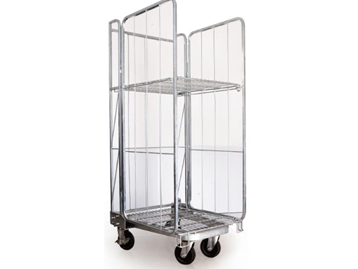 Heavy duty steel cargo storage roll container trolley