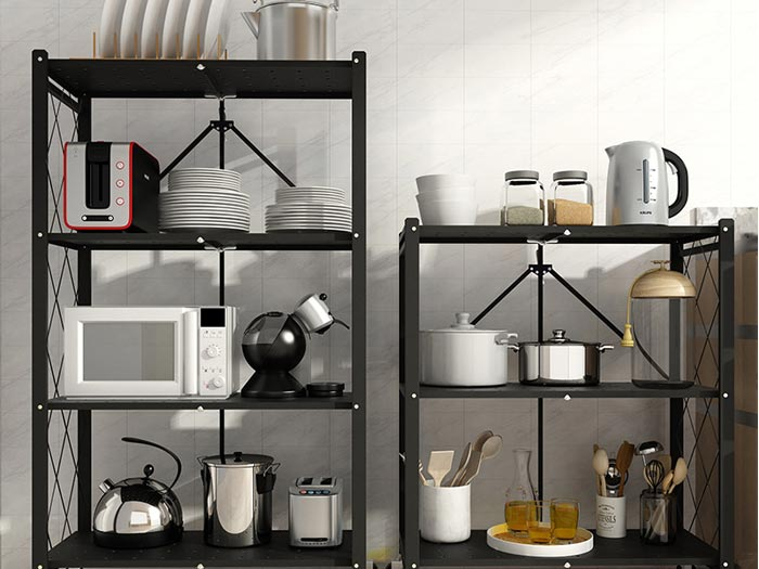 Folding Kitchen Trays Storage Trolley