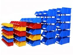 Stackable blue plastic storage parts bins