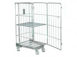 Heavy duty steel cargo storage roll container trolley